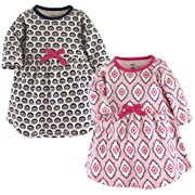 Touched by Nature Baby Girls' Organic Cotton Dress, 2 Pack, Trellis, 0-3 Months (3M)