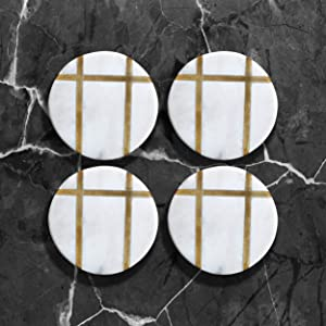 Crocon White Marble With Brass Lines Design Round Coaster Set of 4 For Table Kitchen Decor Office Party Cocktail Coffee and Drink Coasters Suitable of Mugs and Cups Size:- (10.5 X 10.5 X 5.5 cm)