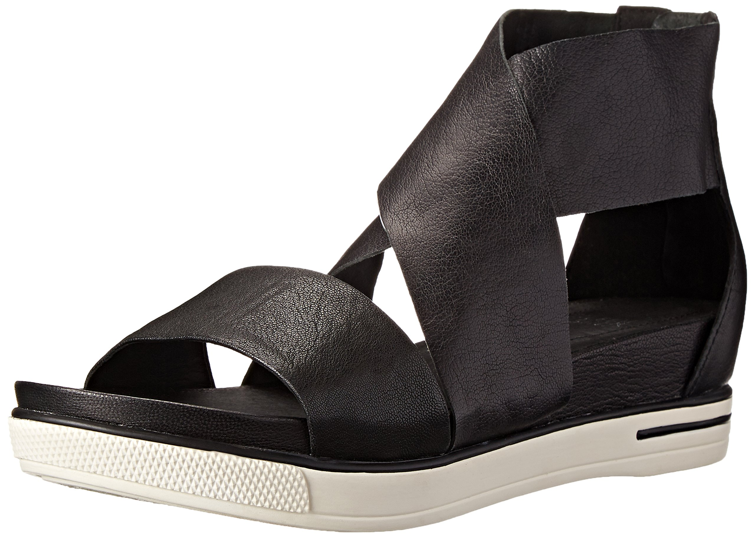 Eileen Fisher Women's Sport Sandal, Black Tumbled Leather, 10 M US