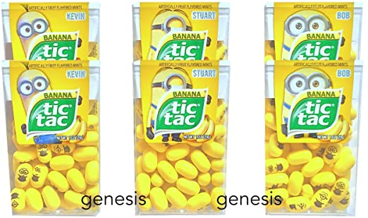 Amazon Limited Edition Minions Bananna Flavored Tic Tac Value Pack Stuart Kevin Bob Net Wt 1 Oz Of 12 Grocery Gourmet Food