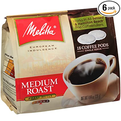 Melitta Single Cup Coffee Pods for Senseo & Hamilton Beach Brewers, Medium Roast Coffee, 18 Count (Pack of 6)