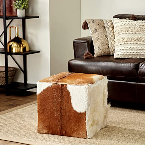Deco 79 37749 Wood Leather Hide Ottoman, 18 x 17 , Brown