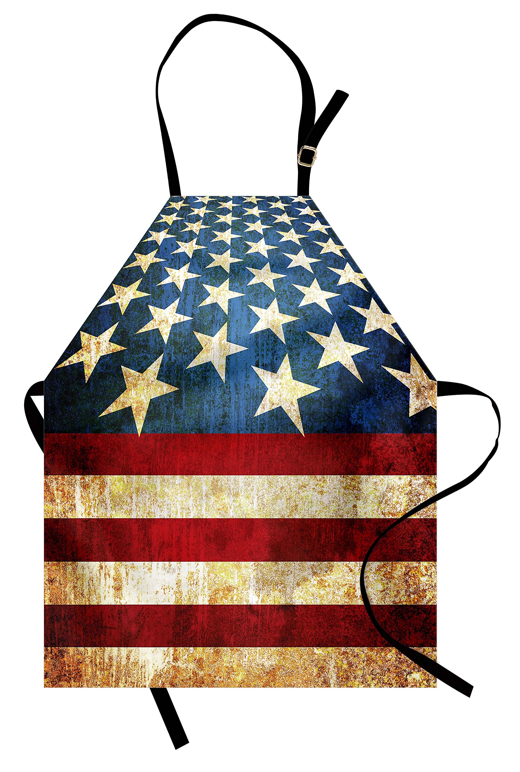 Lunarable 4th of July Apron, United States of America Flag Themed Grunge Illustration Stars and Stripes, Unisex Kitchen Bib Apron with Adjustable Neck for Cooking Baking Gardening, Multicolor