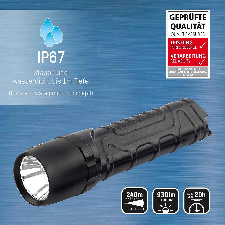 IP67 Lampe tactique avec 930 lumens extr/êmement lumineux et 4 fonctions /Étanche /à la poussi/ère et /à leau ANSMANN Lampe torche /à LED M900P