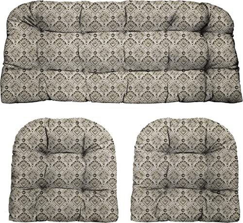 RSH D cor Indoor Outdoor Decorative 3 Piece Tufted Love Seat Settee 2 U-Shaped Chair Cushion Set for Wicker Large 2-21 x21 44 x22 , Kipling Taupe Geometric Scroll