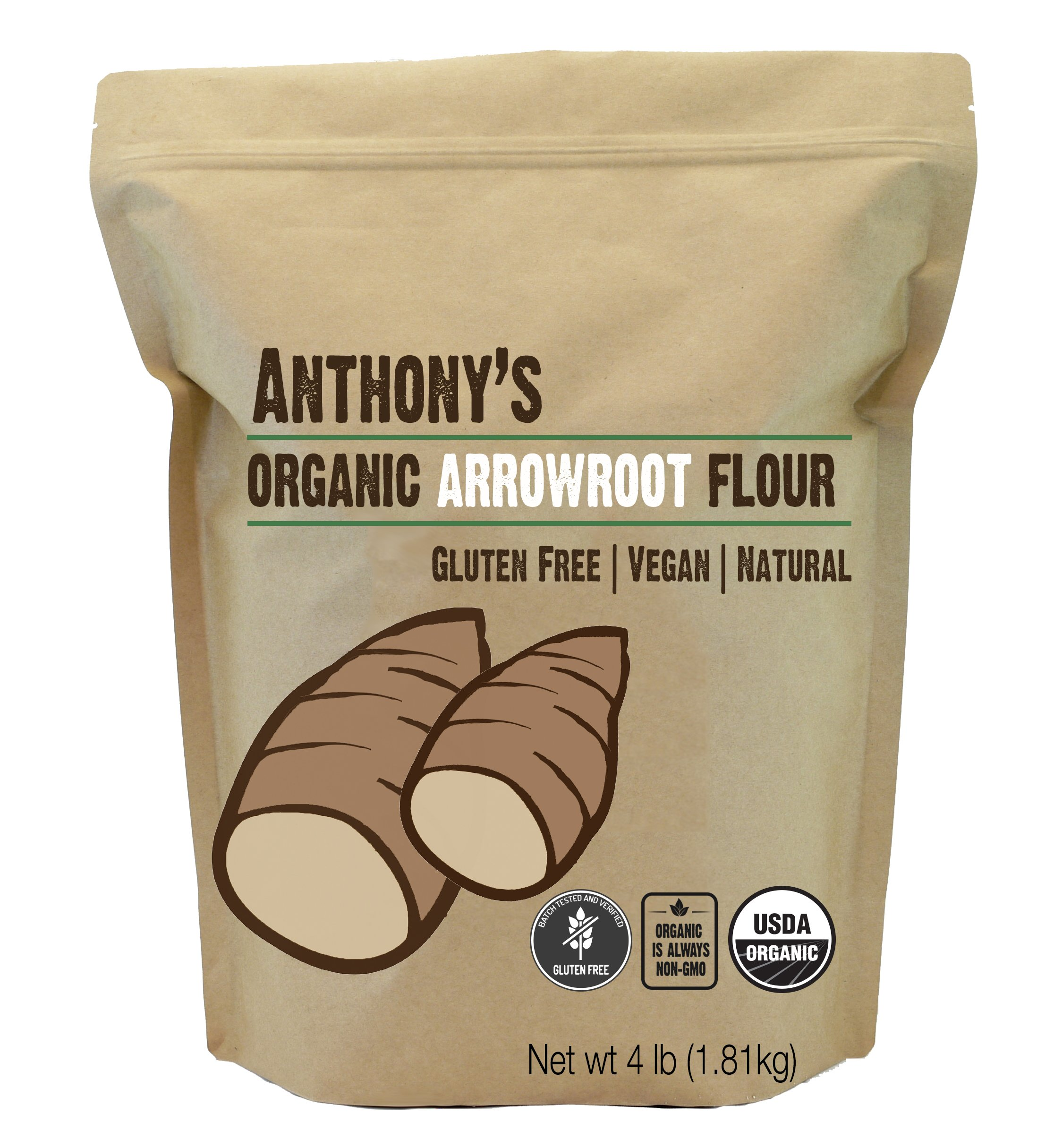 Organic Arrowroot Flour (4lb) by Anthony's, Batch Tested Gluten-Free, Non-GMO