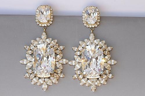 Zircon earrings Bridal Accessories Statement Earring Bridal jewelry Crystal Earrings Chandelier Long Earrings chandelier earring