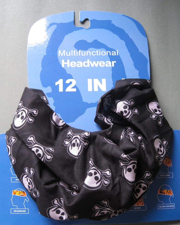 dise/ño de negro y blanco cr/áneos del pirata Braga para el cuello pa/ñuelo de microfibra multifunci/ón