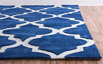 Modern Classic Moroccan Trellis Dark Blue Area Rug 5x7 (5u0027 X 7u00276u0026quot