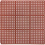 """AmazonCommercial Anti-Fatigue Drainage Modular Mat With One Sided Built-In Connectors, Rubber, 3' X 3', 5/8"""" Thickness, Red Grease-Resistant"""