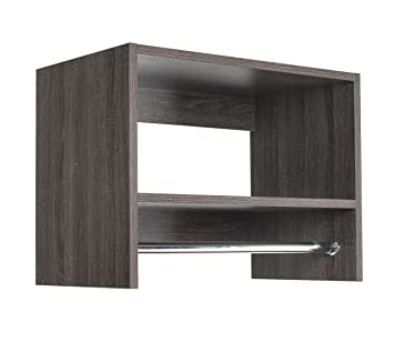 Modular Closets Tall Hanging Wood Closet Organizer (36u0026quot; Wide,  Driftwood)