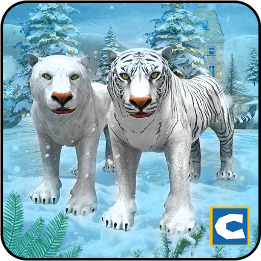 White Wild Tiger Family Survival -