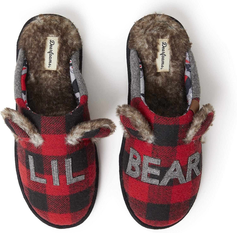 Dearfoams Unisex Slipper, Lil Bear Furry Plaid