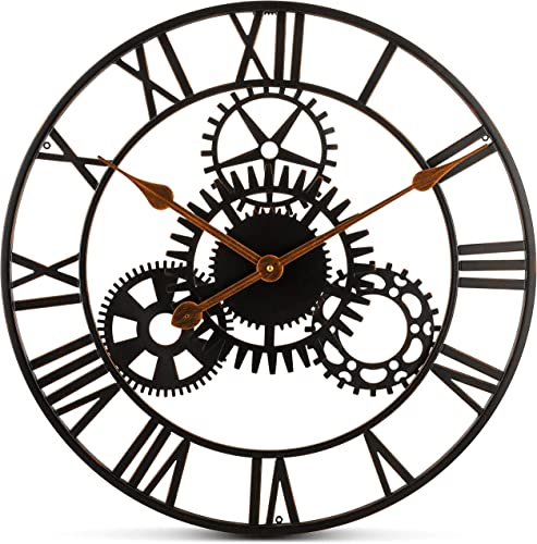 Bernhard Products Extra Large Wall Clock 20 Inch Decorative Wrought Iron