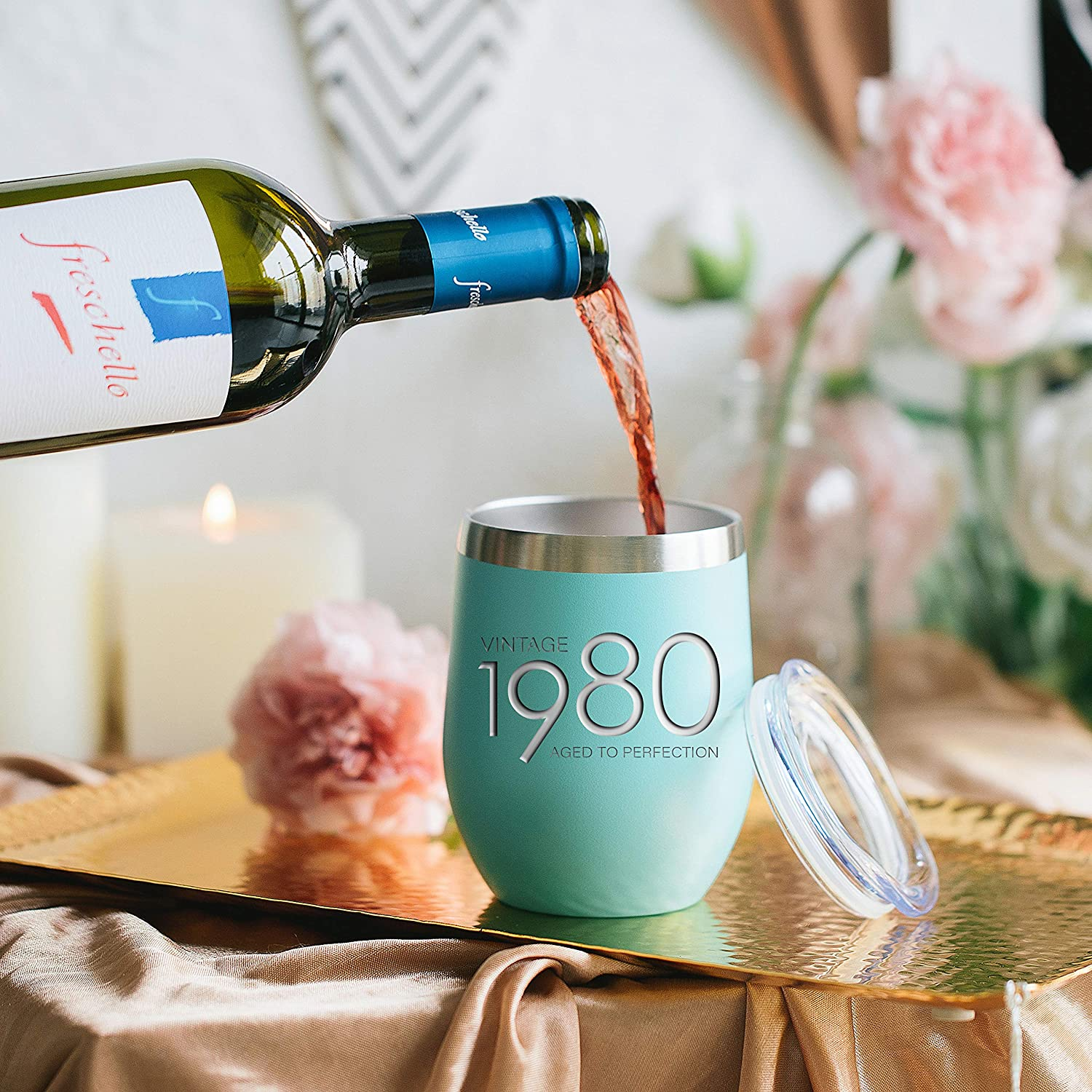 Party Decorations Supplies Anniversary Tumblers Gift th 1980 40th Birthday Gifts for Women and Men Mint 12 oz Insulated Stainless Steel Tumbler 40 Year Old Presents Mom Dad Wife Husband Present