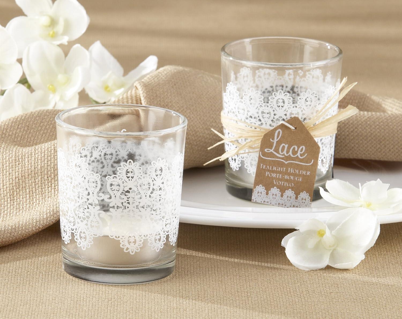 Glass T Light Holders Part - 21: Amazon.com : Kate Aspen Set Of 4 Lace Frosted-Glass Tealight Holder : Tea  Light Holders : Baby