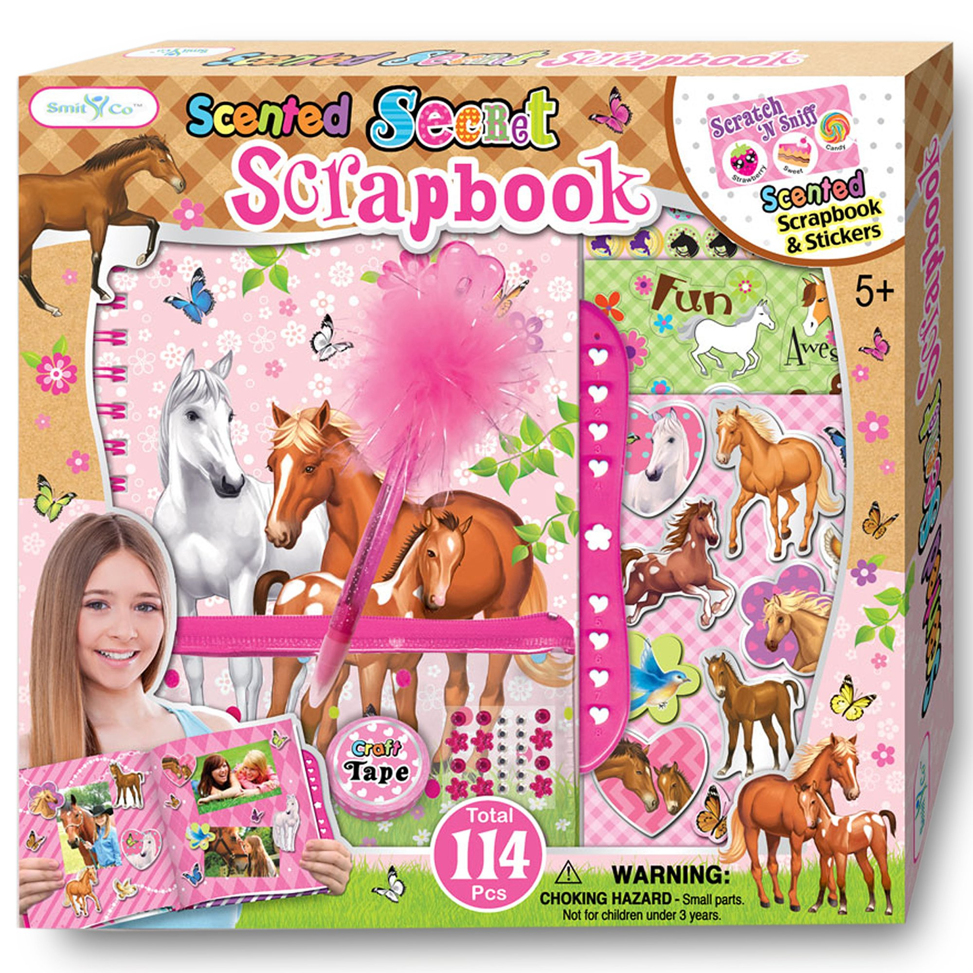 SMITCO Scrapbook for Girls - Pony or Horse Scrapbooking Arts and Crafts Gifts Sets for Kids 5 Years and Older - Includes Album with Passcode Lock, 3D Stickers, Jewels and More for Hours of Fun