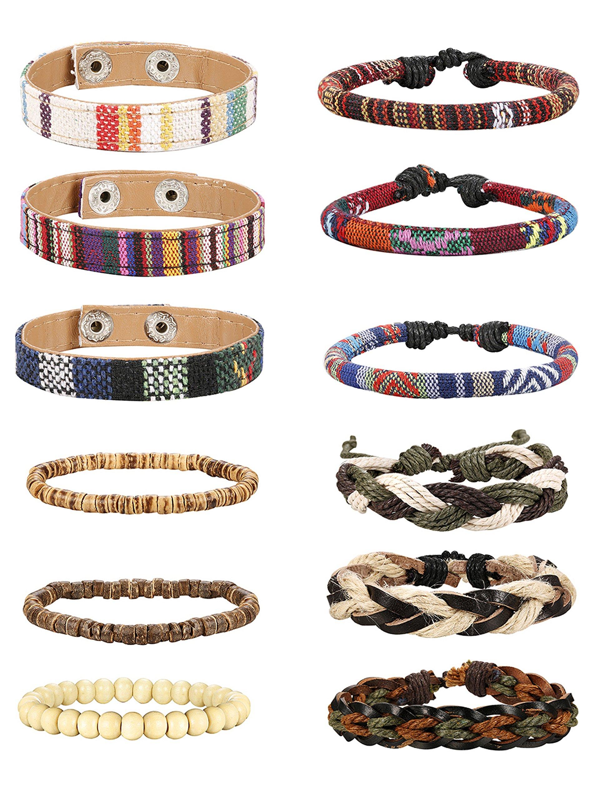 Jstyle 6-12Pcs Wrap Bracelets for Women Men Hemp Cords Ethnic Tribal Bracelet Wooden Beads Leather Bracelets Wristbands by Jstyle (Image #1)