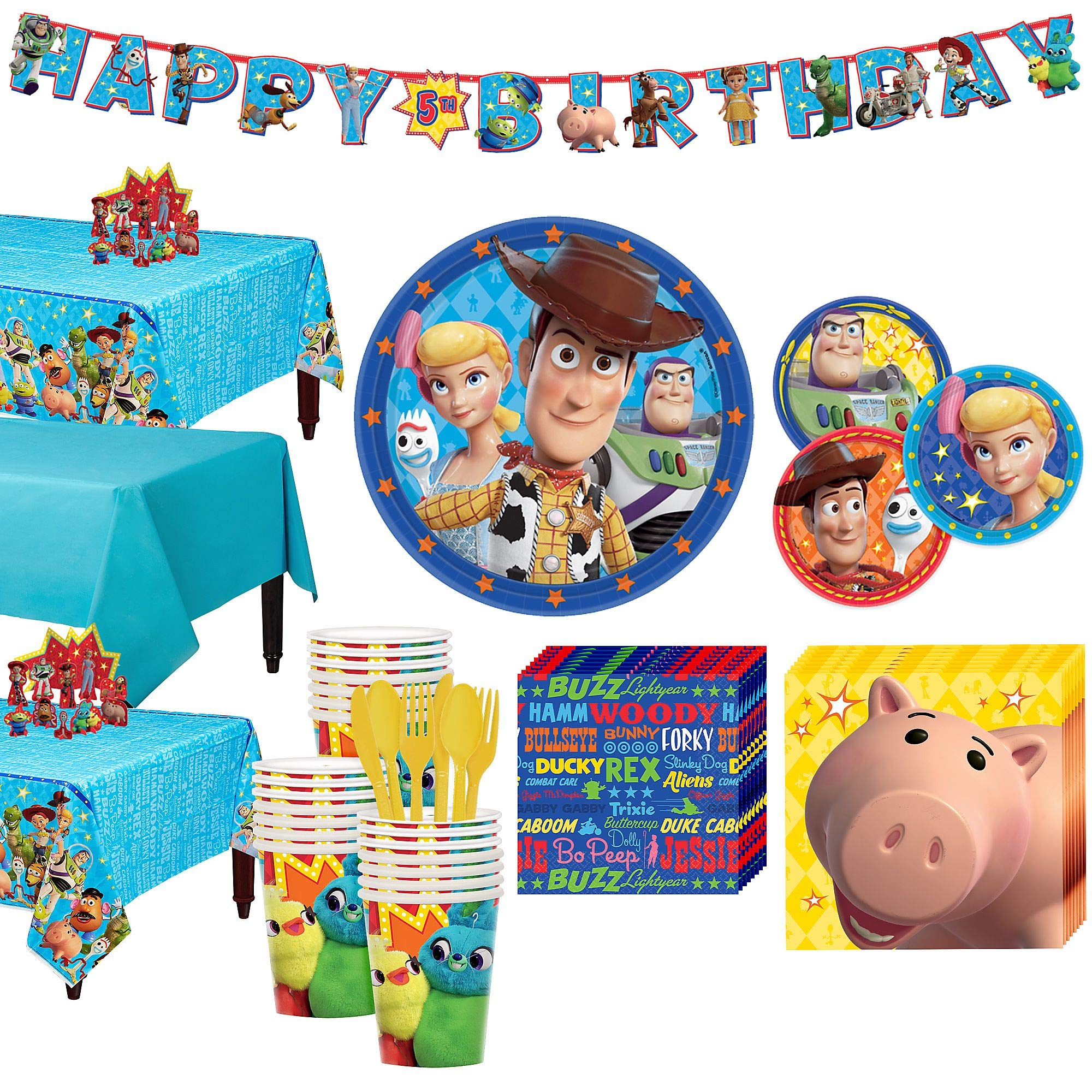 Party City Toy Story 4 Tableware Party Supplies for 24 Guests, 258 Pieces, Includes Tableware and Decorations