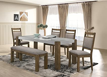 Bon Roundhill Furniture D725 6PC Collection Costabella 6 PC Dining Set, Table  With 4 Chairs