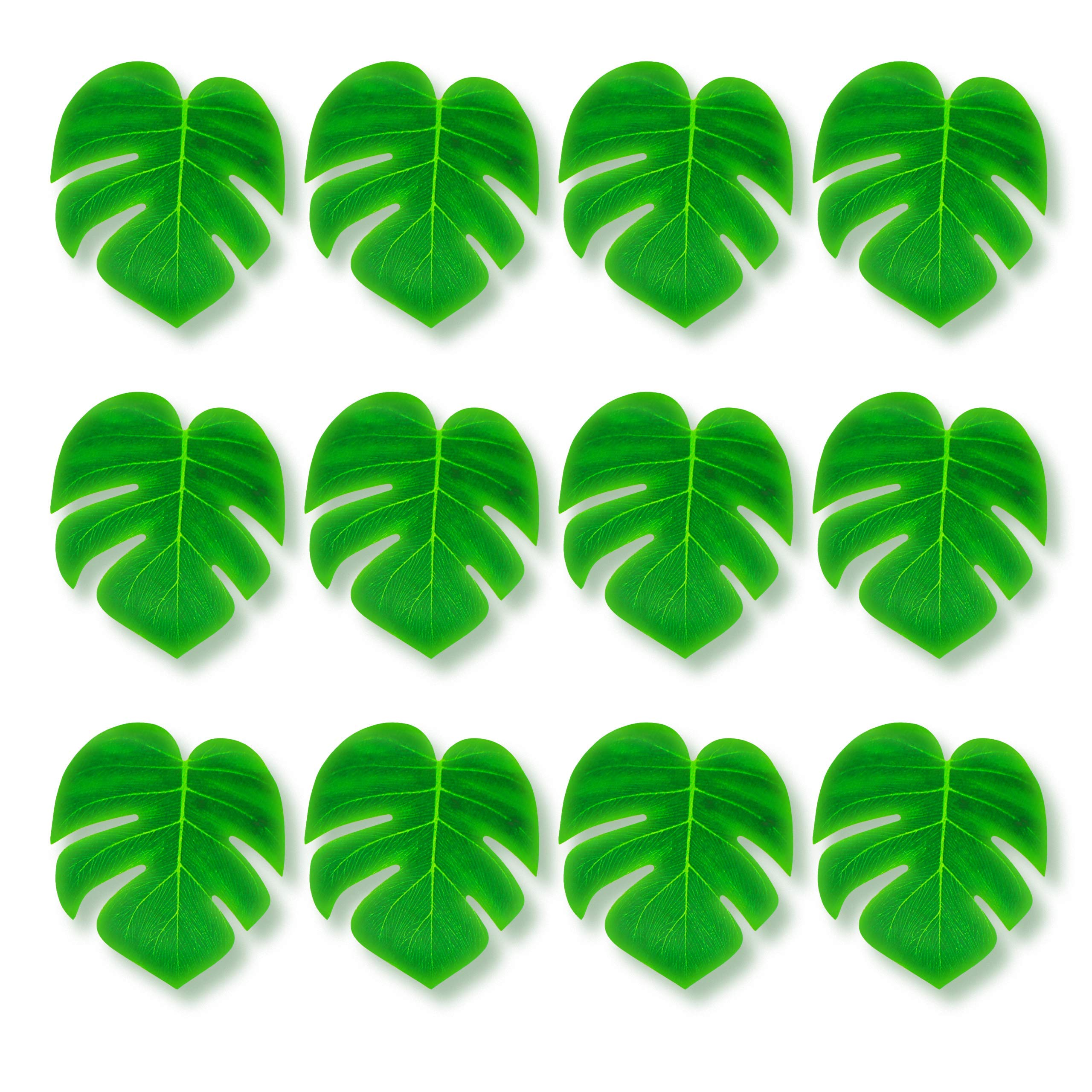 Adorox 12 pc Tropical Green Leaves included 1 Hawaiian Luau Hibiscus Brown Table Skirt (9 ft) by Adorox