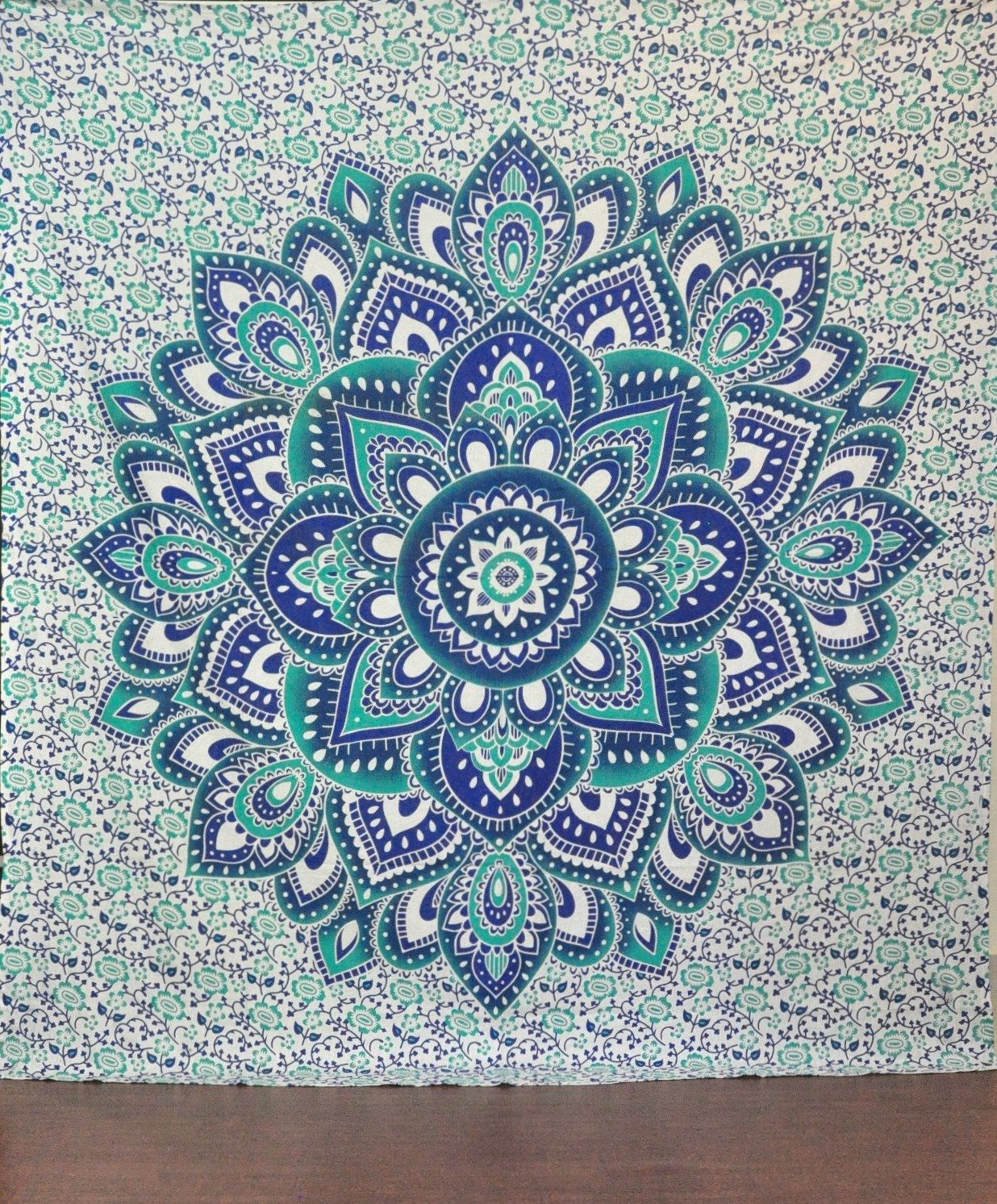 Amazon.com: Green And Blue Mandala Tapestry Ombre Mandala Wall Hanging  Hippie Hippy Tapestry Dorm Decor Psychedelic Tapestries Indian Tapestry  Bohemian ...
