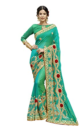 e92533f44a1d Amazon.com: KIMANA Indian Designer Ethnic Bollywood Traditional Silk Party  Wear Saree Sari s4972: Clothing