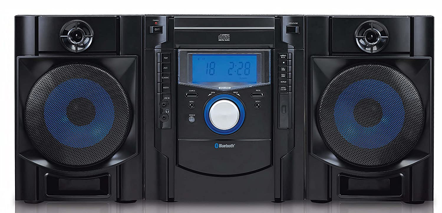 SYLVANIA SRCD2731BT Bluetooth Cd Radio Micro System with Blue Led Display Petra Canada