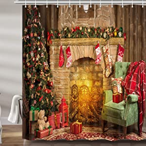 Christmas Decor Shower Curtain, Xmas Tree Fireplace Room New Year Upgrade Polyester Fabric Bath Curtains Bathroom Accessories, with 12PCS Hooks 69X70 Inches