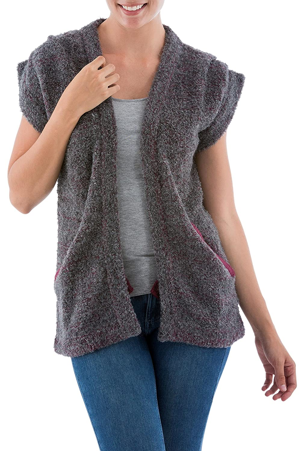 NOVICA Grey Alpaca Blend Cardigan Vest, 'Burgundy Grey Boucle'