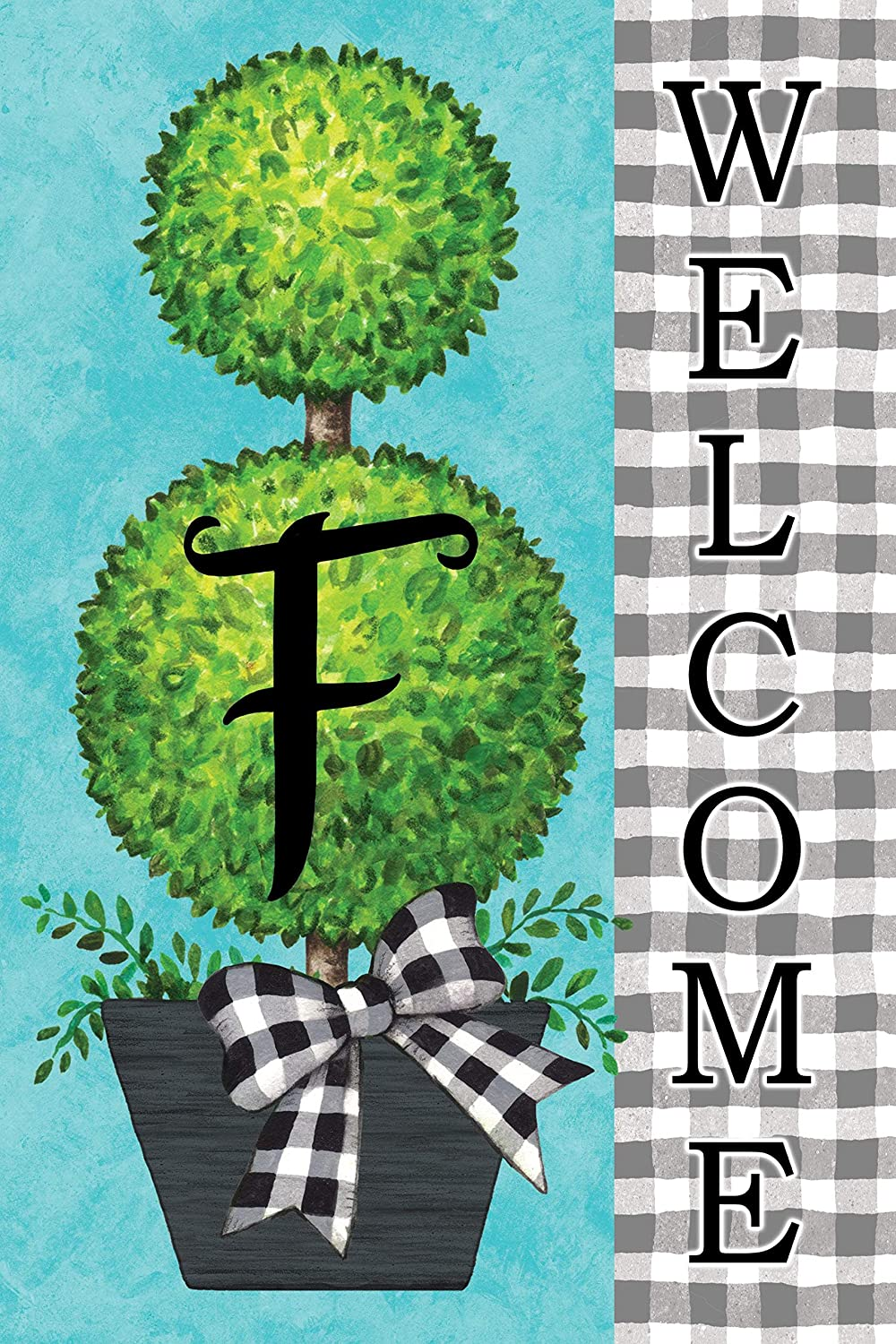 Custom Decor Gingham Topiary - Letter F - Embroidered Monogram - Decorative Double Sided Flag - Garden Size, 12 Inch X 18 Inch, Licensed, Copyright & Trademark CDI. USA