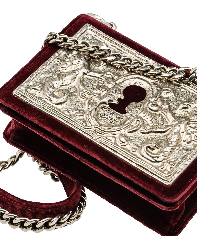 5758874abe3e Prada Women's Cahier Small Lock Velvet Trunk Crossbody Bag Burgundy  Embossed Metal Face Plate and Chain Strap 1BH018: Amazon.ca: Shoes &  Handbags