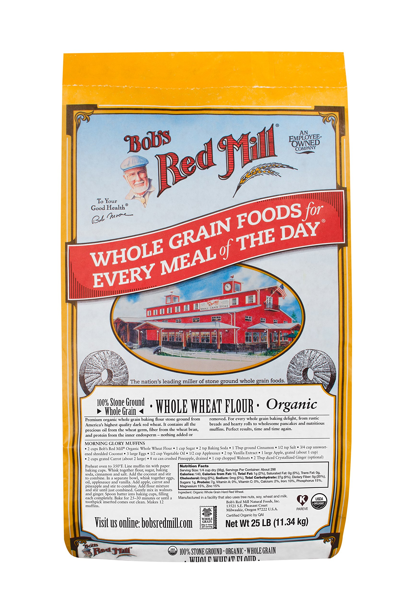 Bob's Red Mill Organic Whole Wheat Flour, 25 Pound by Bob's Red Mill