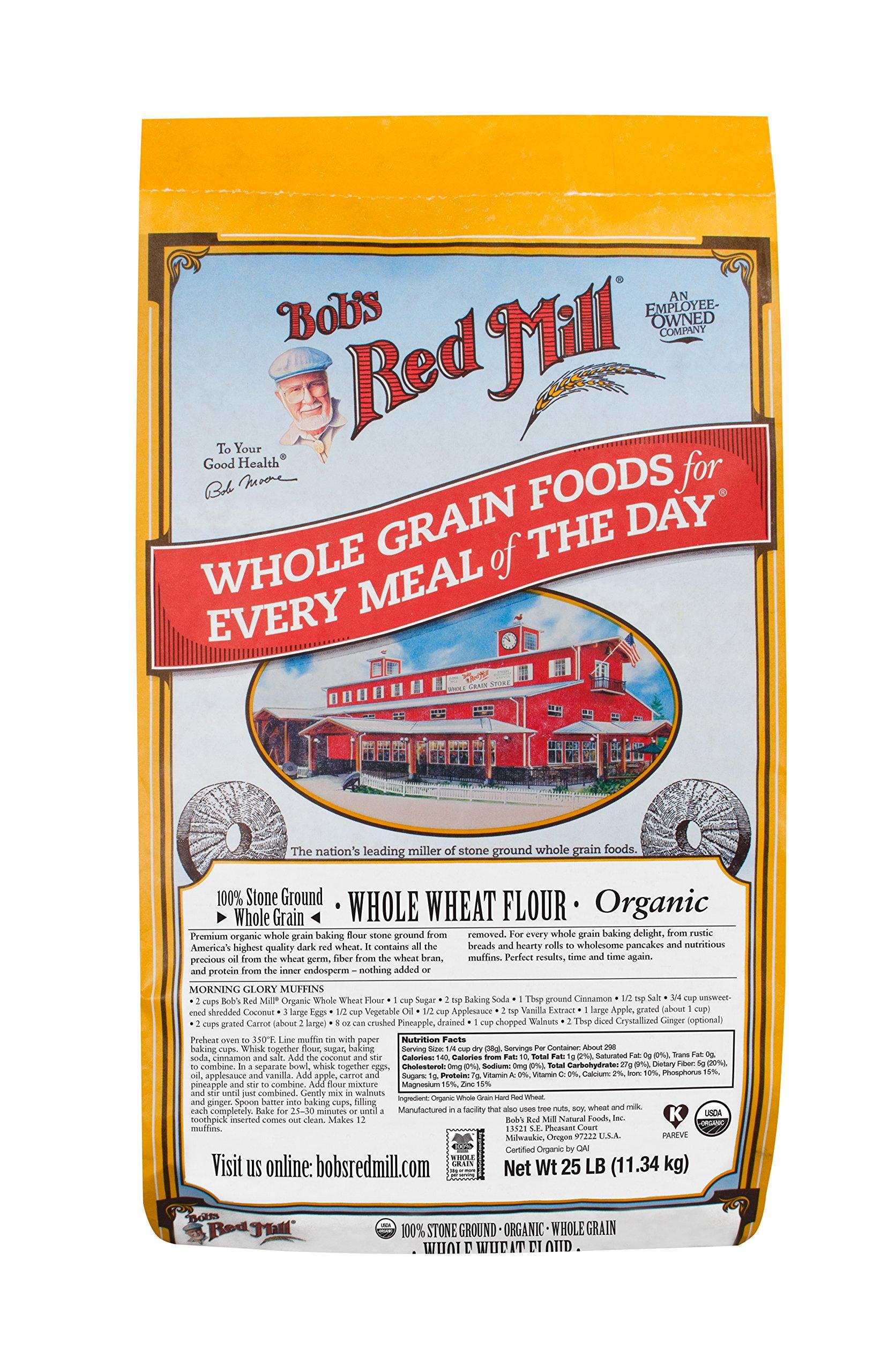 Bob's Red Mill Organic Whole Wheat Flour, 25 Pound