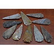 "10 Pcs Assort Agate Stone Spearhead Arrowhead Point 3"" - 3 1/2"""