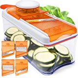 Adjustable Mandoline Slicer - 5 Blades - Vegetable Cutter, Peeler, Slicer, Grater & Julienne Slicer - Orange