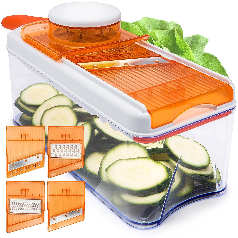 HomeNative® Adjustable Mandoline Slicer (Orange) - Comes with 4 Interchangeable Stainless Steel Blades - Vegetable Cutter, Peeler, Slicer, Grater and Julienne Slicer all in 1 - Plus 3 Bonus Gifts: