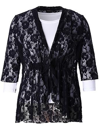 ff95f615da5 Chicwe Women s Plus Size Stretch Floral Lace Bohemian Cover up 1X Black
