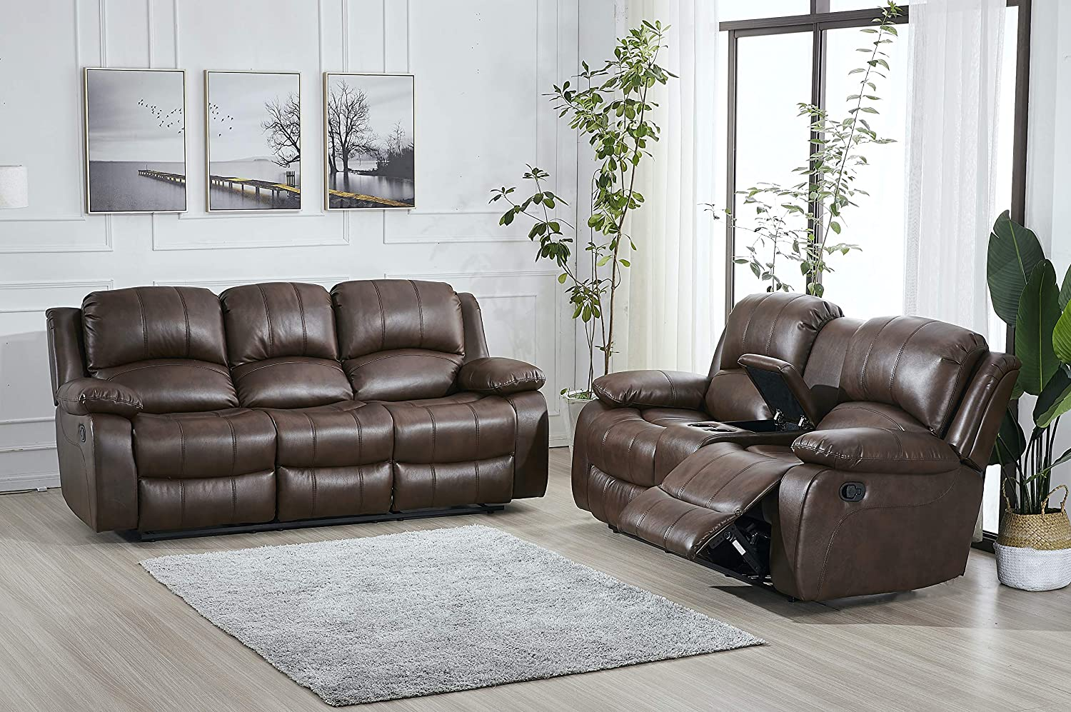 Amazon.com: Betsy Furniture Bonded Leather Recliner Set Living