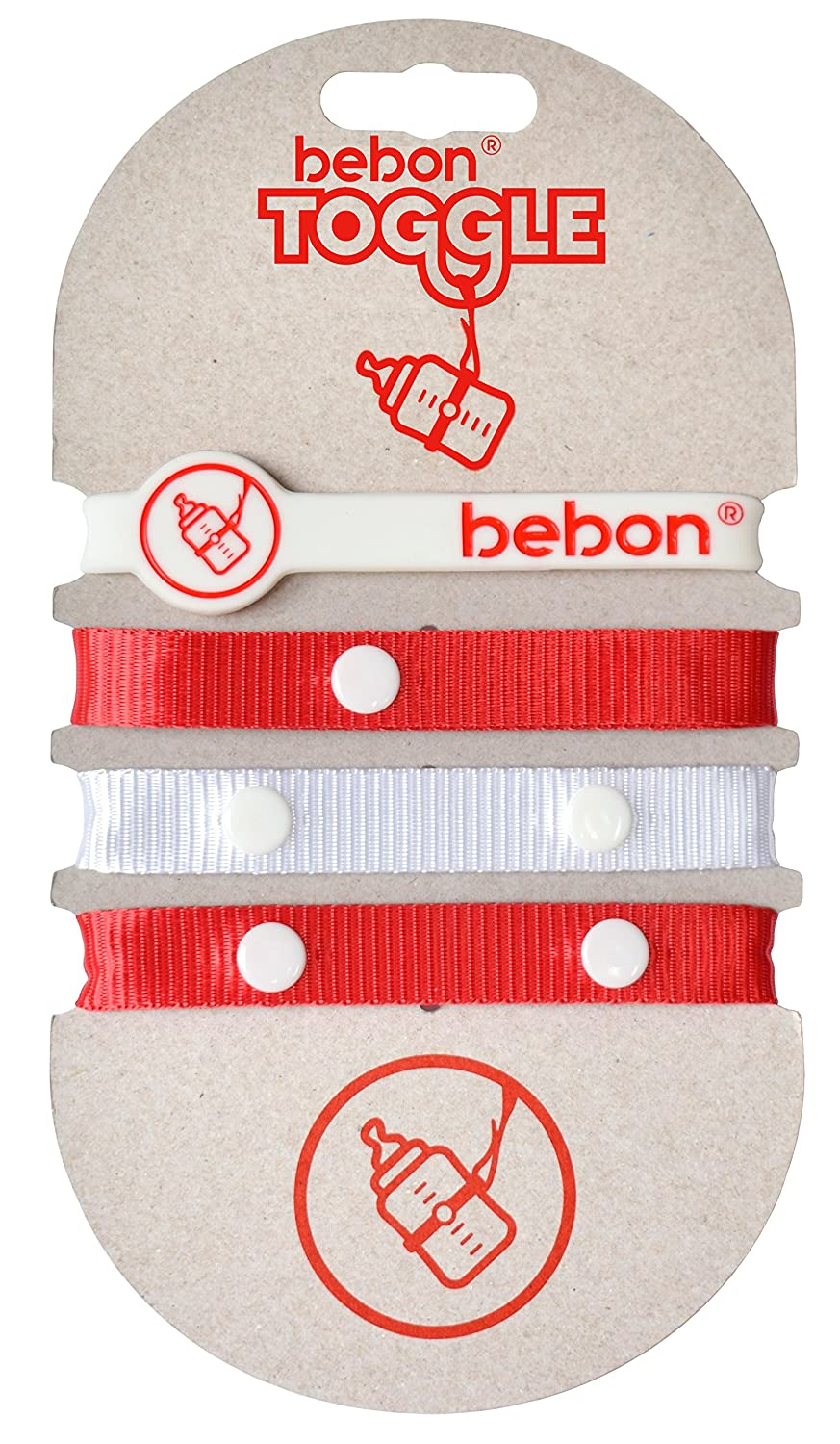 Toggle Baby Bottle Holder - Toy Strap, Leash for Stroller, Car Seat, High Chair, Sippy Cup, Teether (red/White) bebon