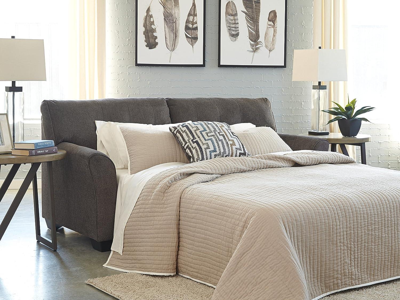 Benchcraft – Alsen Contemporary Upholstered Sofa Sleeper – Full Size Mattress Included – Granite