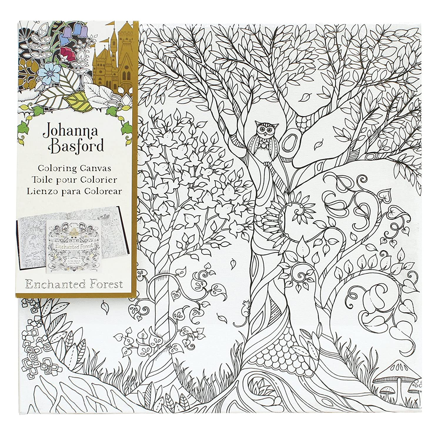 amazoncom johanna basford enchanted forest coloring canvas owl in tree arts crafts sewing
