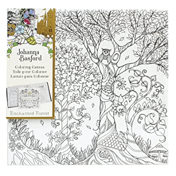 johanna basford enchanted forest coloring canvas owl in tree