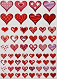 Red and Pink Hearts Stickers - Decorative heart shaped label for arts, favors and crafts in colors for Valentine's day - Permanent adhesive - 290 Pack - By Royal Green