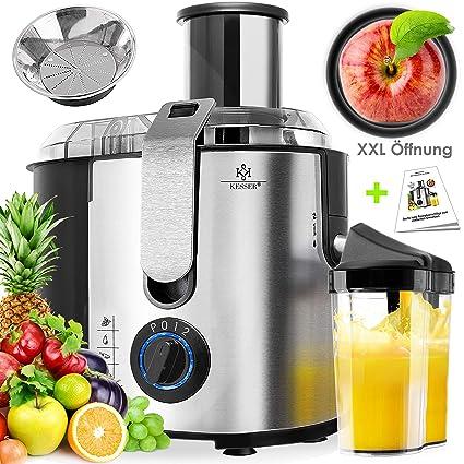 KESSER® Entsafter für Obst und Gemüse aus Edelstahl 1100W große 85 mm Einfüllöffnung inkl. Reinigungsbürste und Saftbehälter