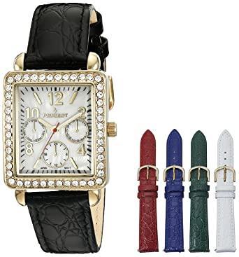 c9d484c280e61 Image Unavailable. Image not available for. Color  Peugeot Women s 14k Gold  Plated Crystal Bezel Five Easy Release Interchangeable Leather Bands Watch  ...