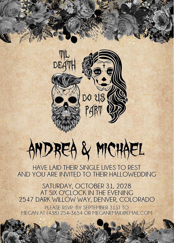 Antique Gothic Skulls Halloween Wedding Invitations - Set of 8