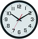 """Tempus Wide Profile Wall Clock with Dual Electric/Battery Operation and Daylight Saving Time Auto-Adjust Movement, 13.75"""", Black"""