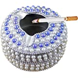 Ashtray Cigarette Vintage Metal Beads Carved Ash Tray Round Travel Portable - 4 Inch