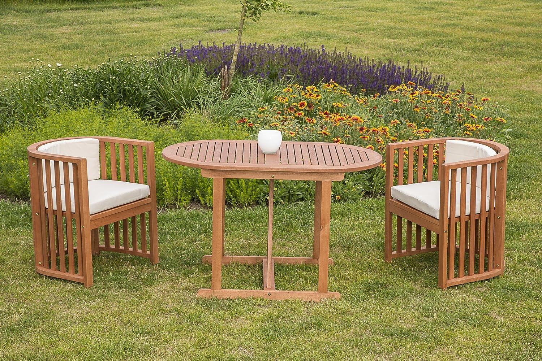 baumarkt direkt 7-tgl. Gartenmöbelset Brasilia, 2 Sessel, Tisch 120x70 cm, Eukalyptusholz braun